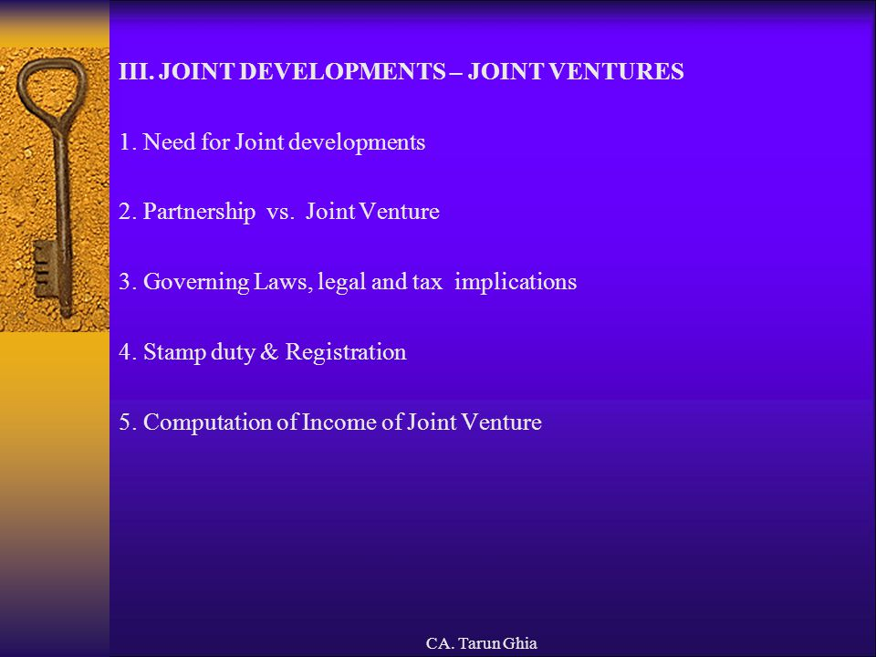III. JOINT DEVELOPMENTS – JOINT VENTURES