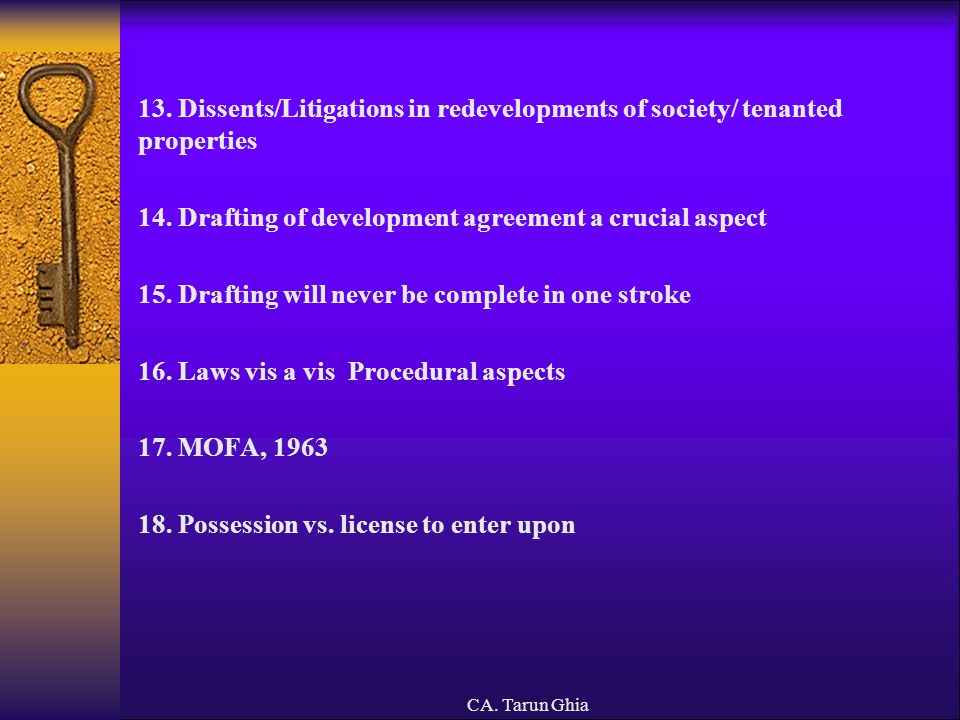 14. Drafting of development agreement a crucial aspect