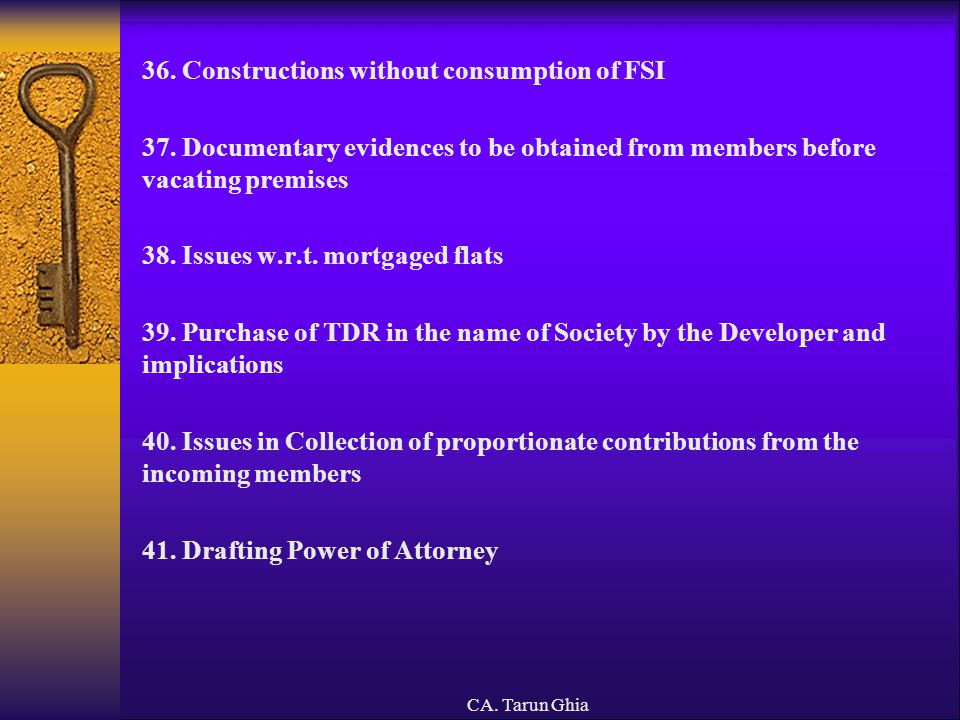 36. Constructions without consumption of FSI