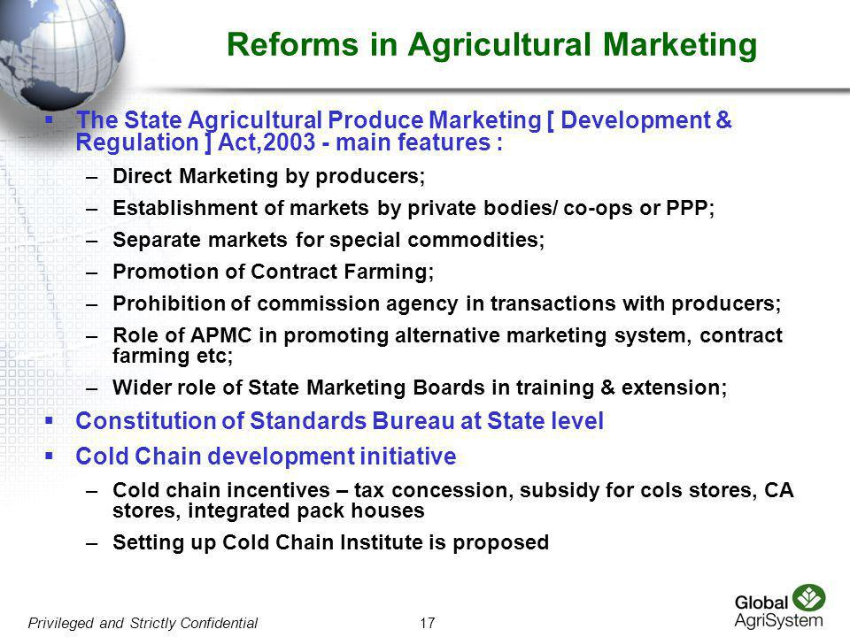 Reforms in Agricultural Marketing