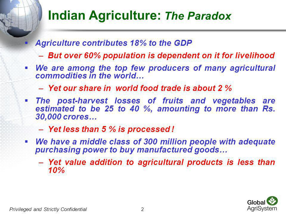 Indian Agriculture: The Paradox