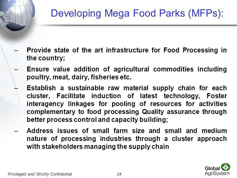 Developing Mega Food Parks (MFPs):