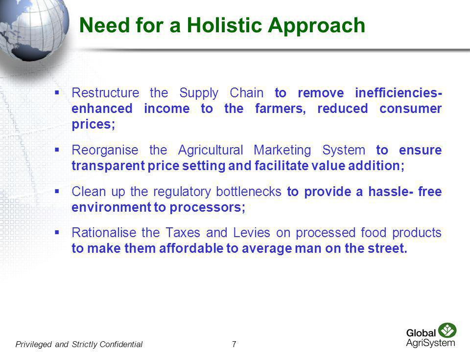 Need for a Holistic Approach