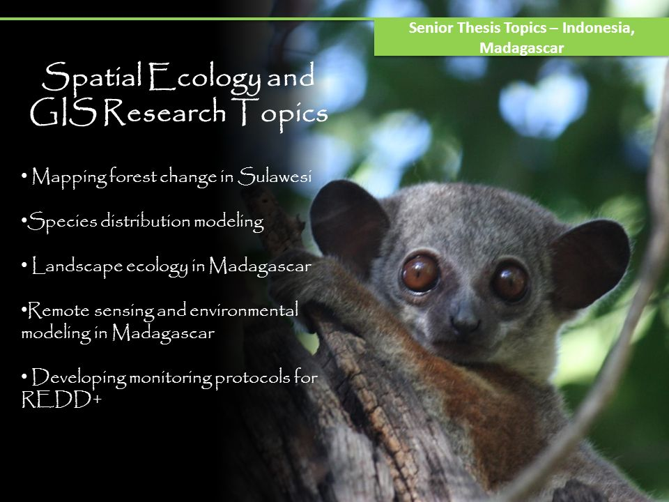 Spatial Ecology and GIS Research Topics