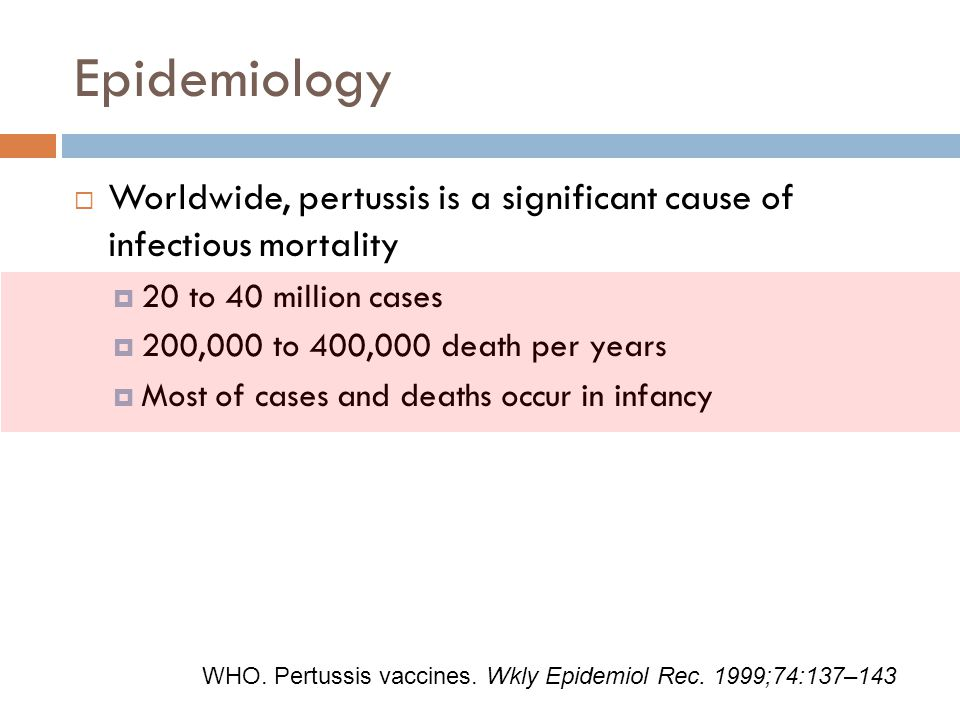 Epidemiology Worldwide, pertussis is a significant cause of infectious mortality. 20 to 40 million cases.