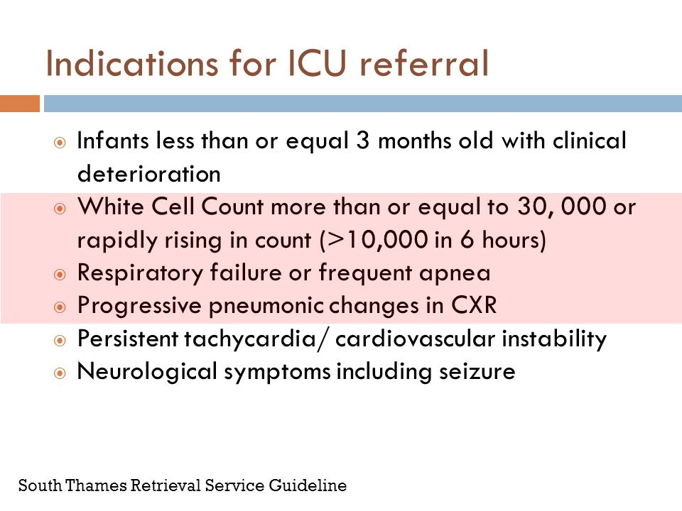 Indications for ICU referral