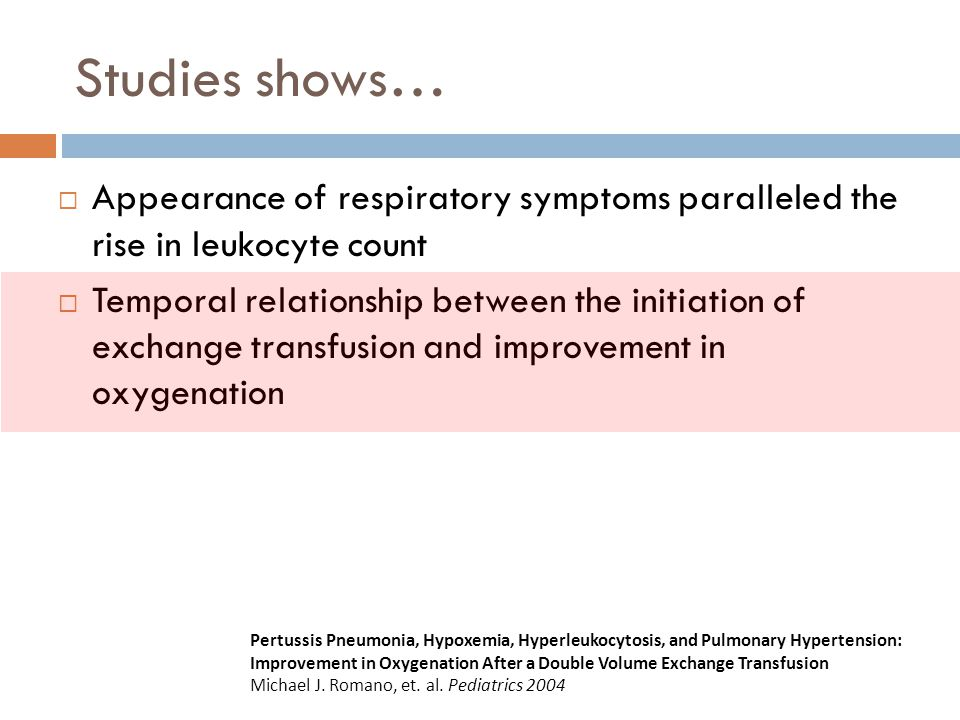 Studies shows… Appearance of respiratory symptoms paralleled the rise in leukocyte count.