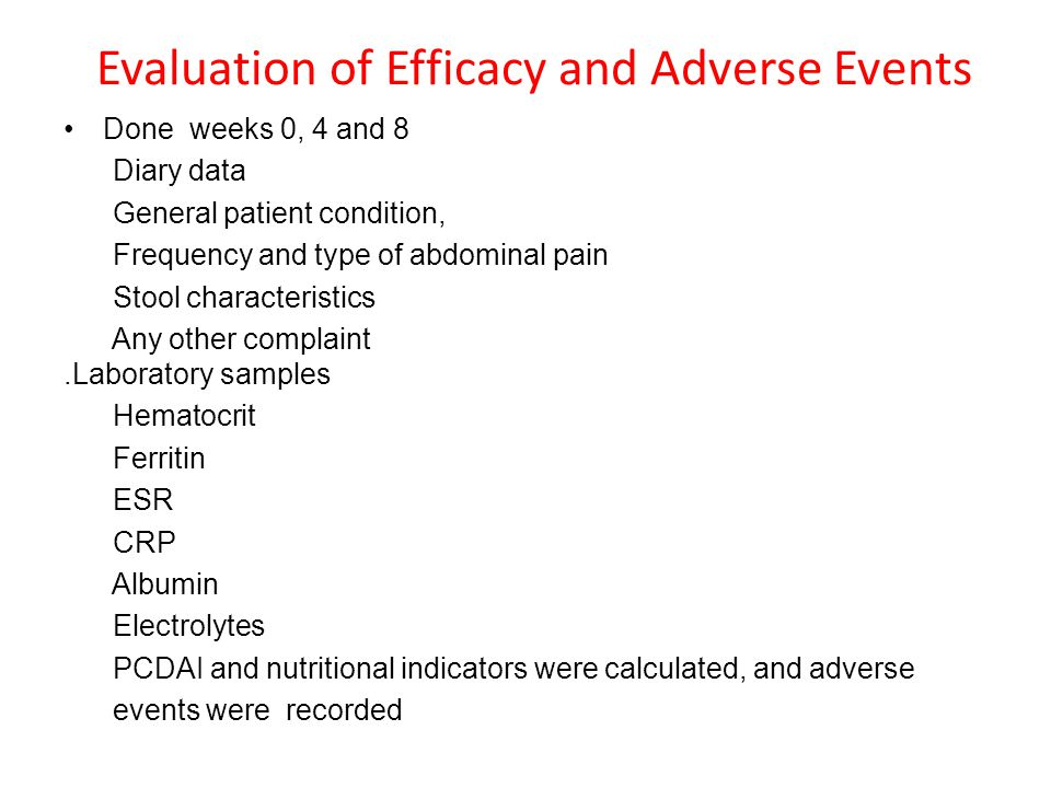 Evaluation of Efficacy and Adverse Events