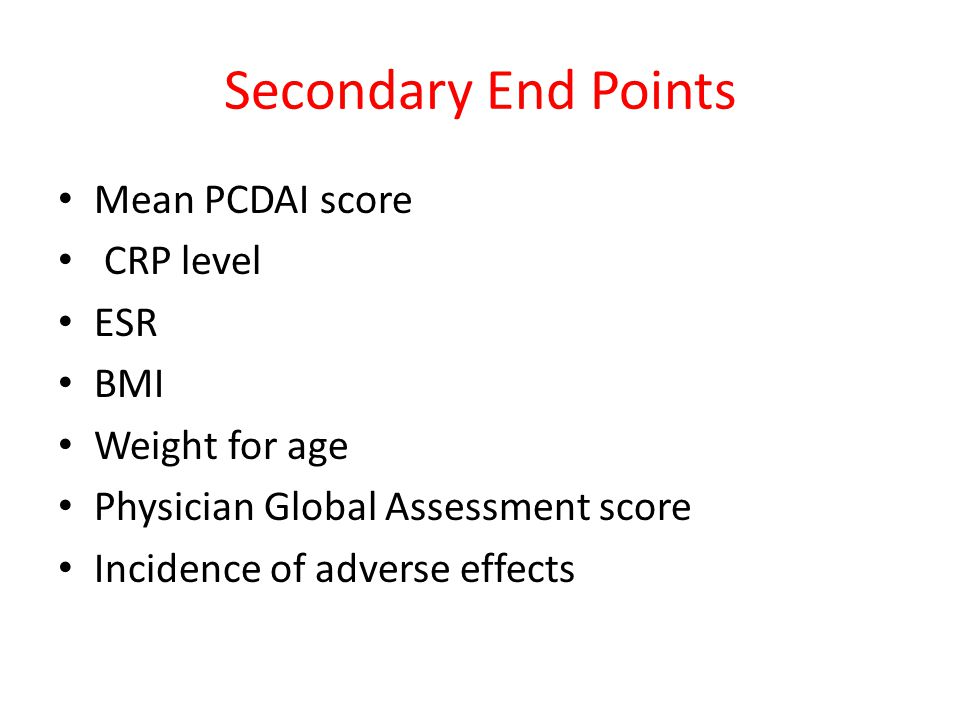 Secondary End Points Mean PCDAI score CRP level ESR BMI Weight for age