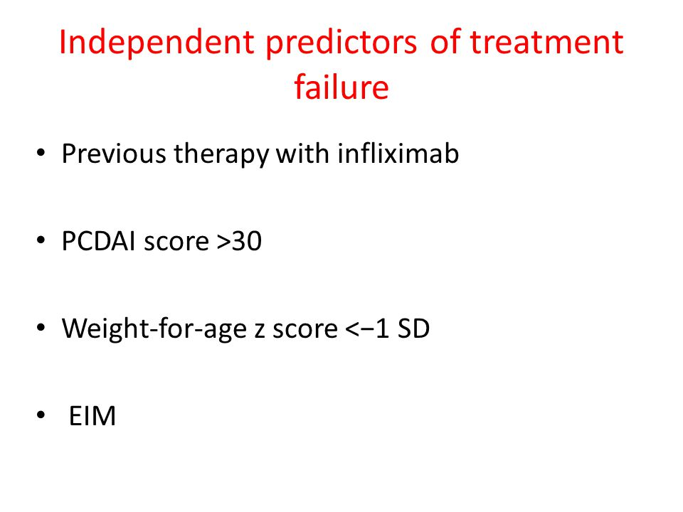 Independent predictors of treatment failure