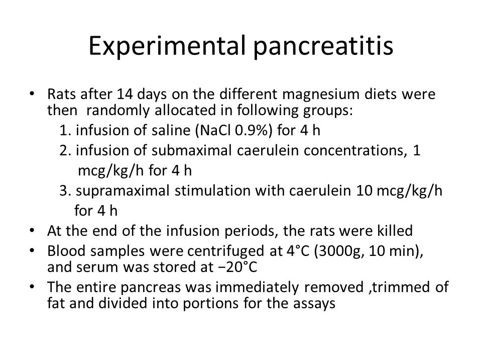 Experimental pancreatitis
