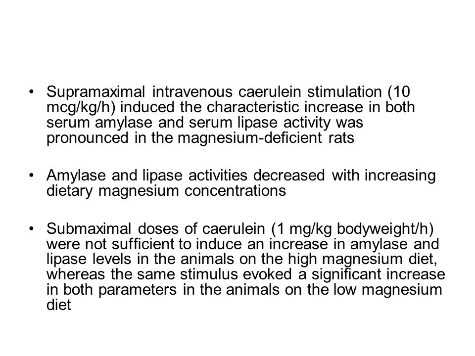 Supramaximal intravenous caerulein stimulation (10 mcg/kg/h) induced the characteristic increase in both serum amylase and serum lipase activity was pronounced in the magnesium-deficient rats