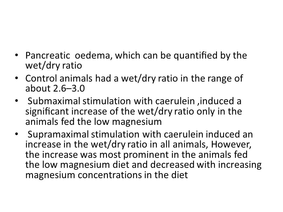 Pancreatic oedema, which can be quantified by the wet/dry ratio