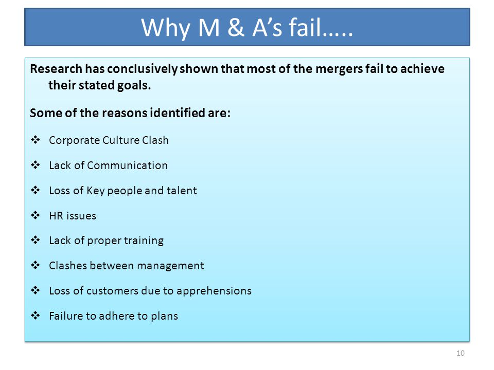 Why M & A's fail….. Research has conclusively shown that most of the mergers fail to achieve their stated goals.