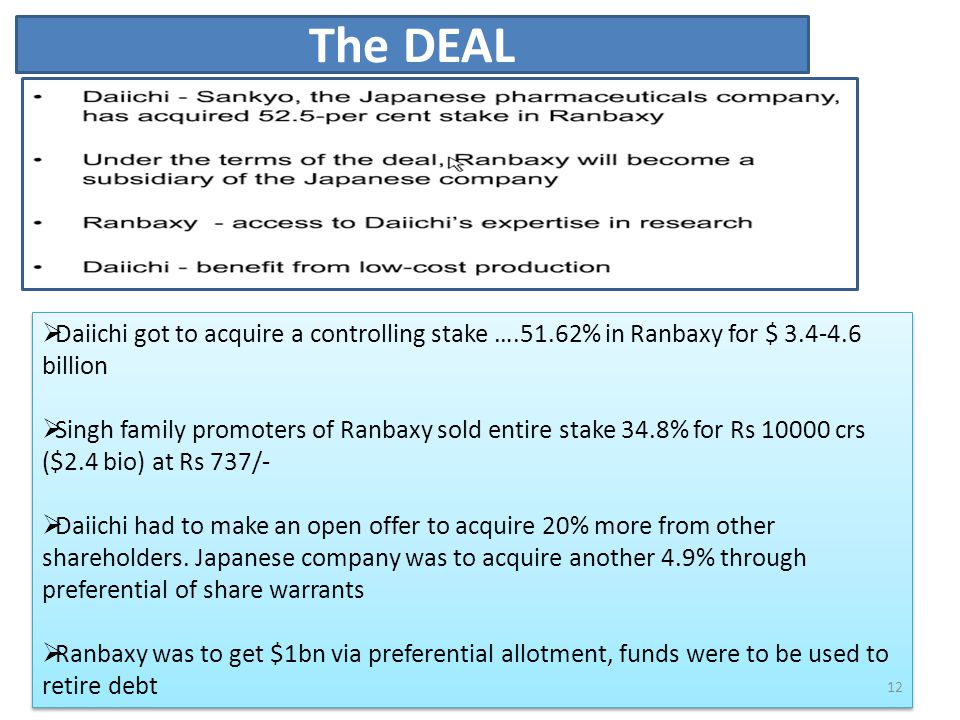 The DEAL Daiichi got to acquire a controlling stake ….51.62% in Ranbaxy for $ 3.4-4.6 billion.