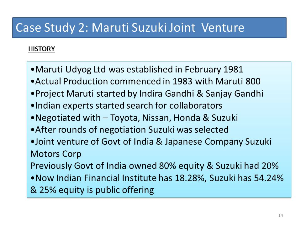 Case Study 2: Maruti Suzuki Joint Venture