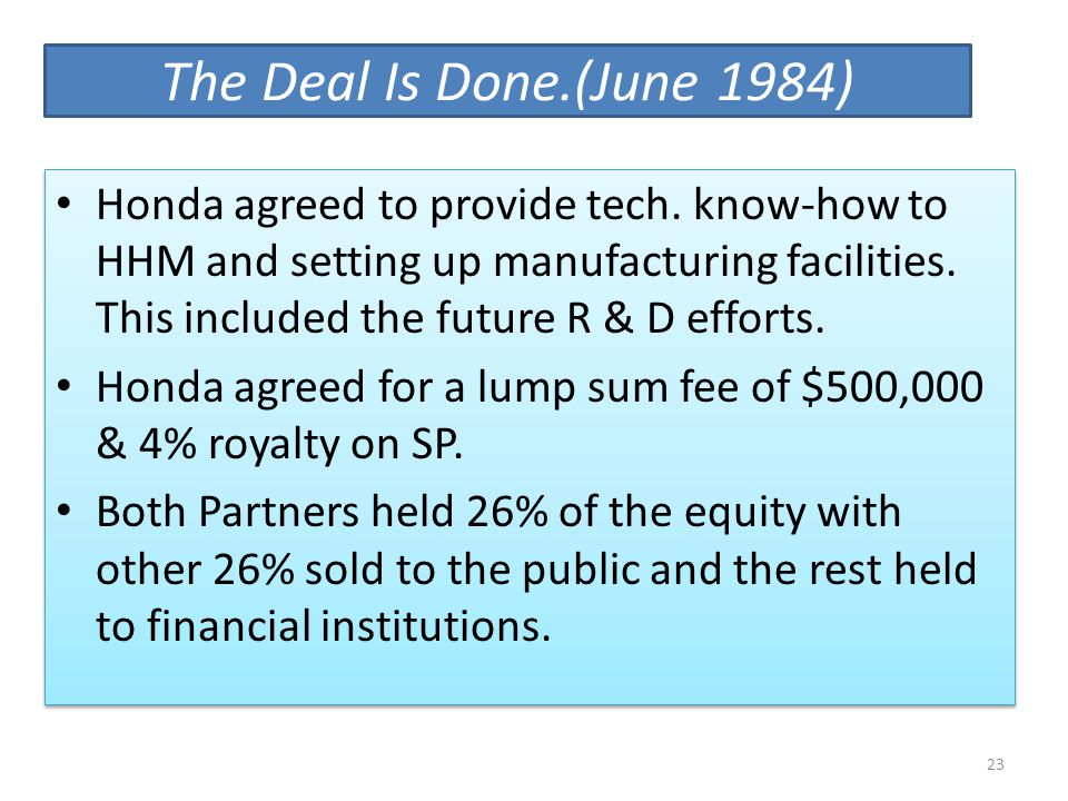 The Deal Is Done.(June 1984)
