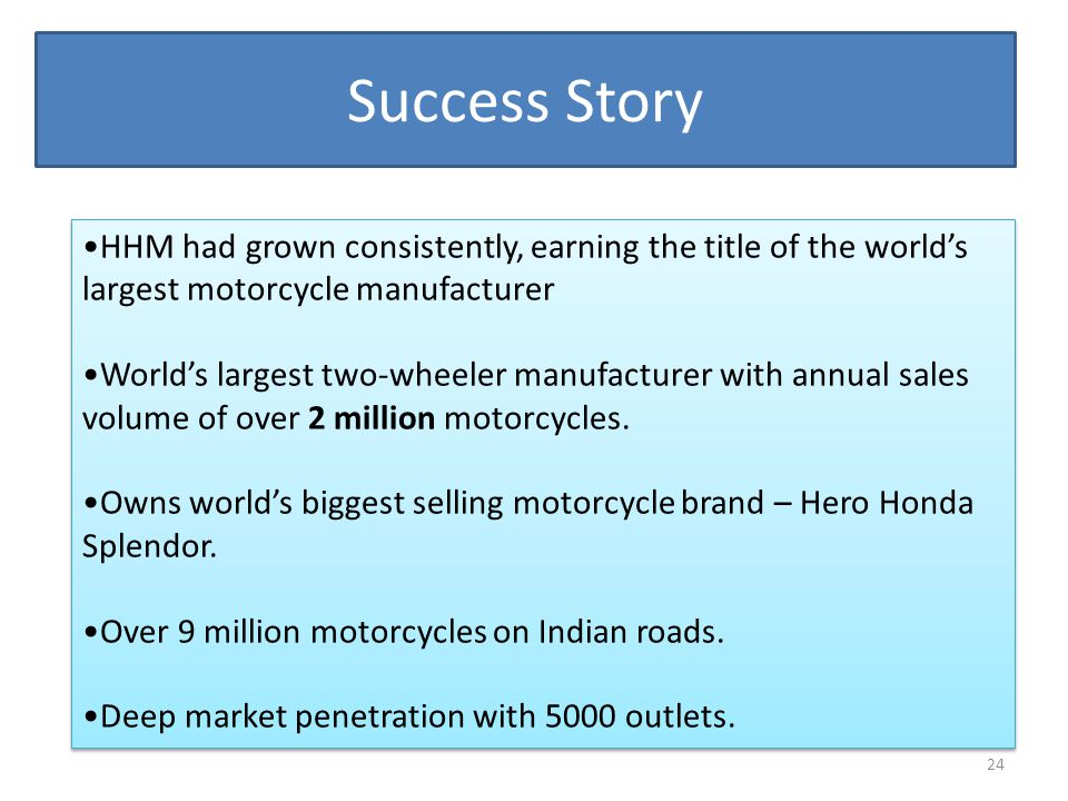 Success Story HHM had grown consistently, earning the title of the world's largest motorcycle manufacturer.