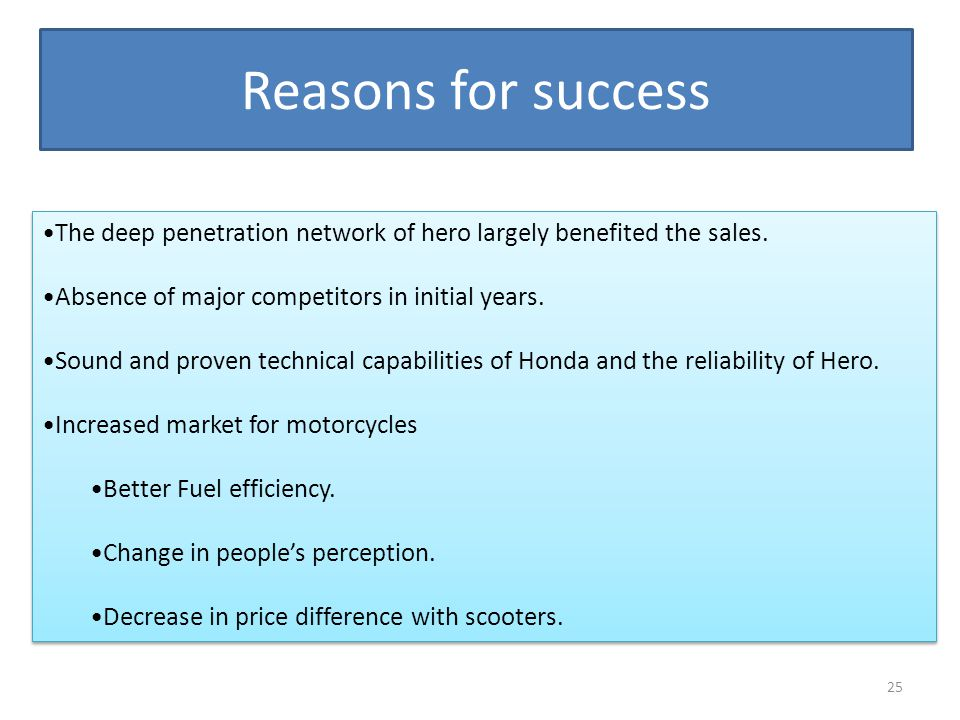 Reasons for success The deep penetration network of hero largely benefited the sales. Absence of major competitors in initial years.