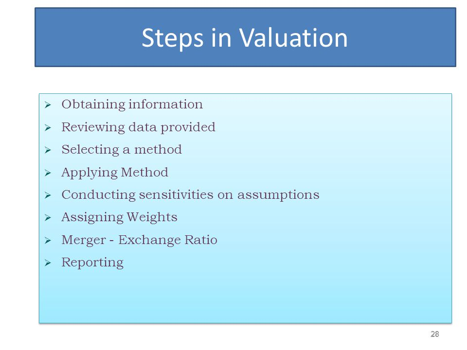 Steps in Valuation Obtaining information Reviewing data provided