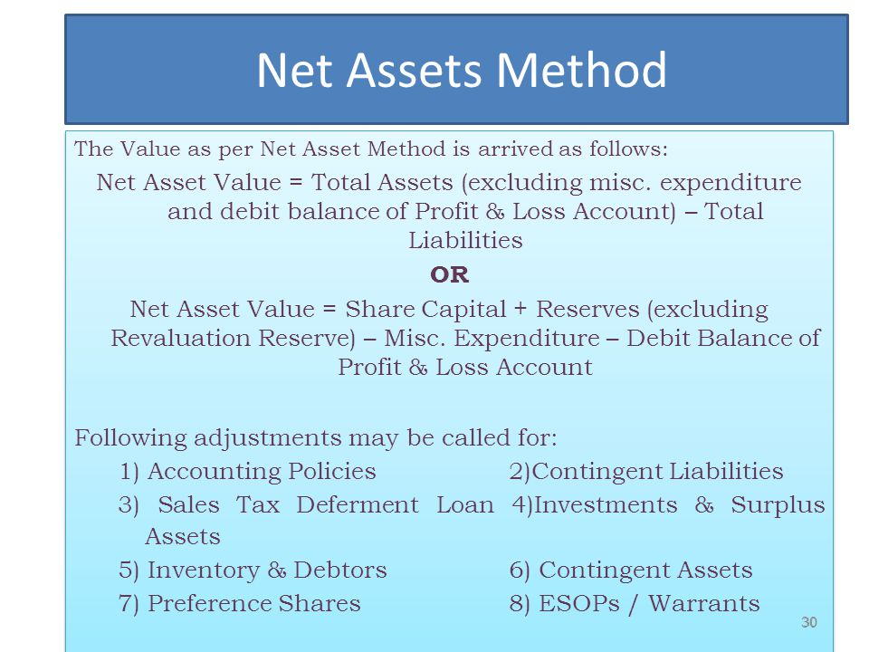 Net Assets Method The Value as per Net Asset Method is arrived as follows: