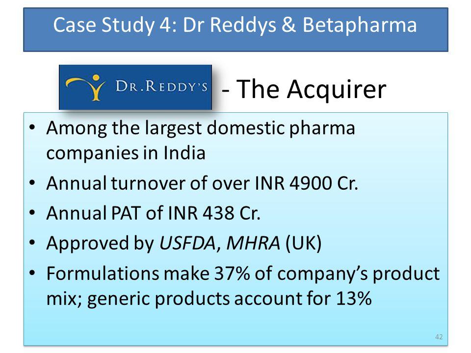 Case Study 4: Dr Reddys & Betapharma