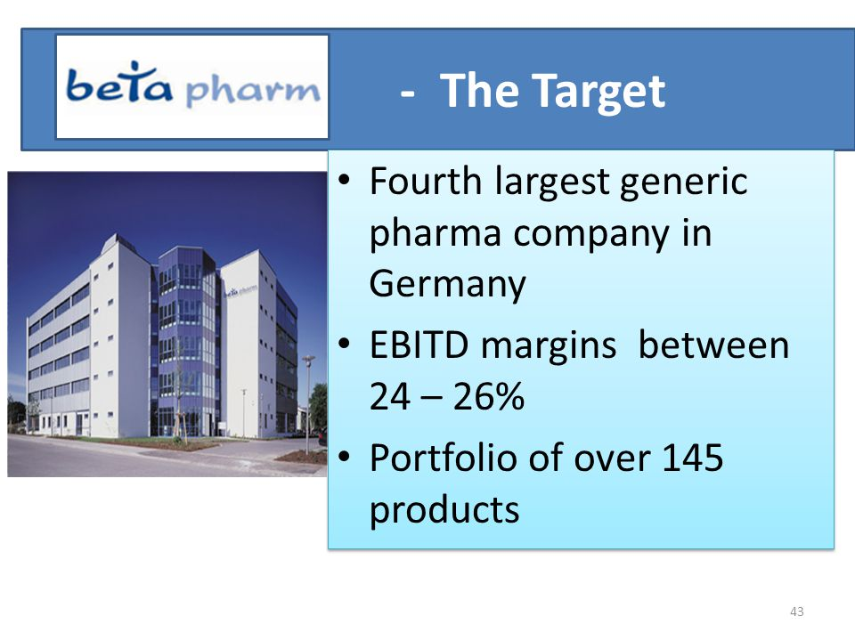 - The Target Fourth largest generic pharma company in Germany