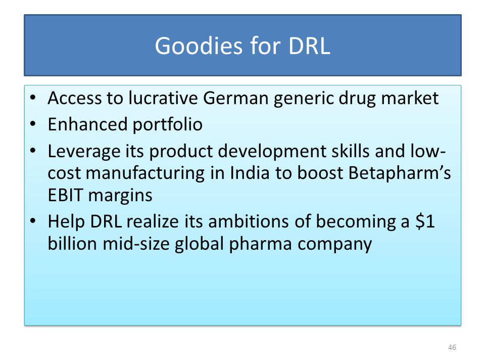Goodies for DRL Access to lucrative German generic drug market