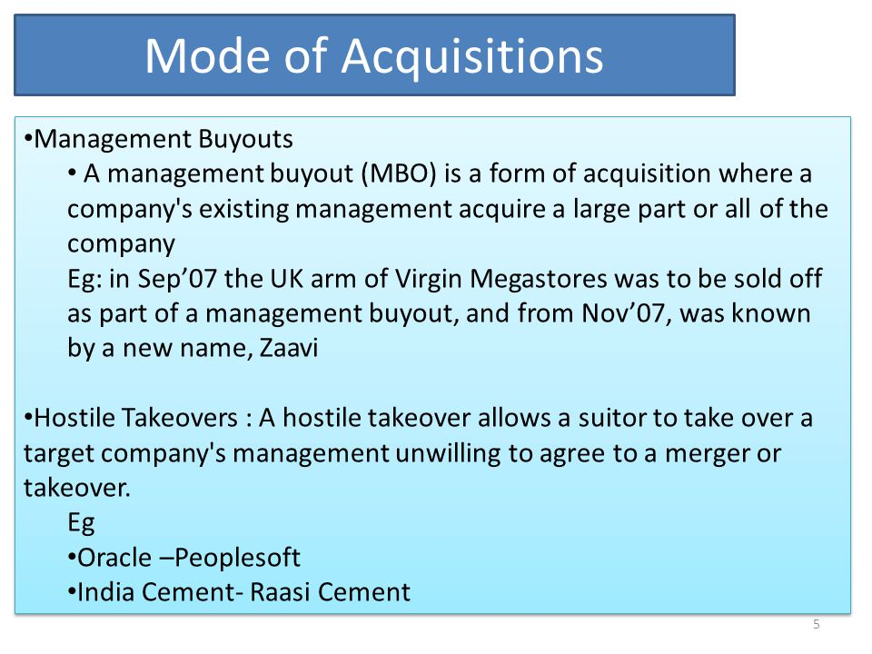 Mode of Acquisitions Management Buyouts