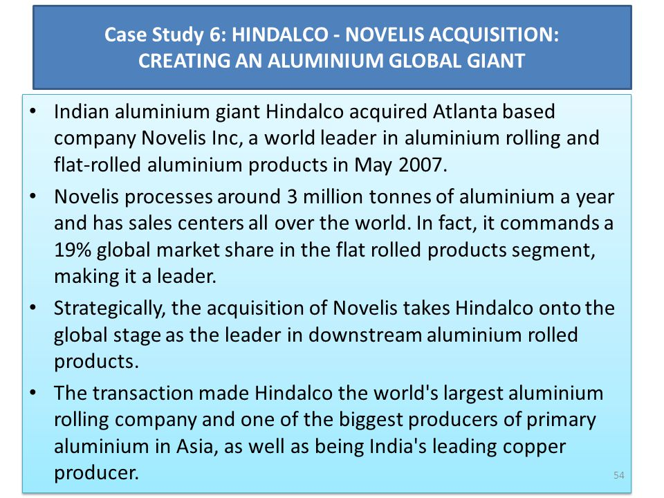 Case Study 6: HINDALCO - NOVELIS ACQUISITION: CREATING AN ALUMINIUM GLOBAL GIANT