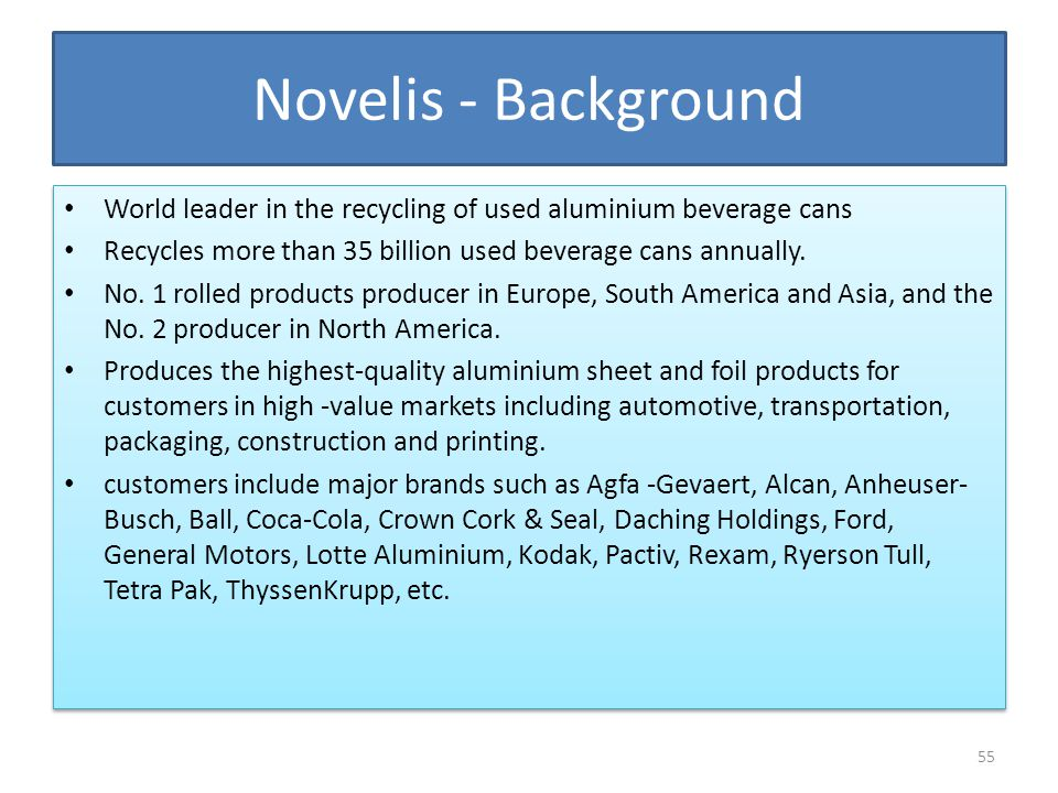 Novelis - Background World leader in the recycling of used aluminium beverage cans. Recycles more than 35 billion used beverage cans annually.