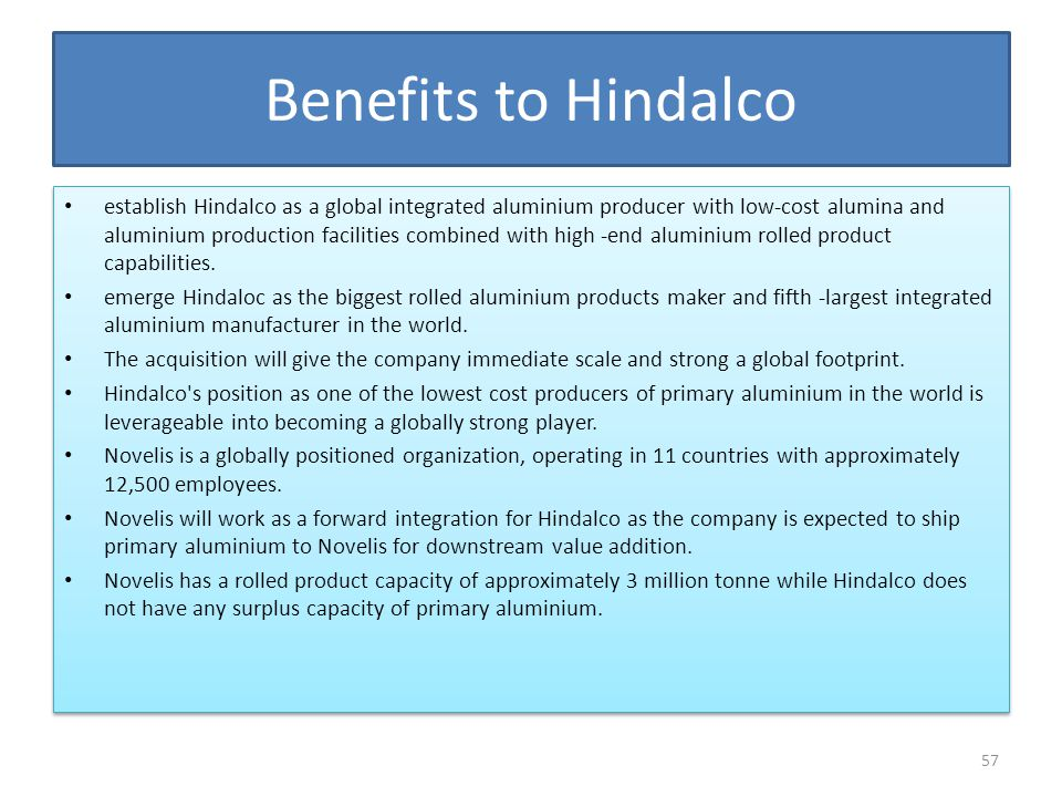 Benefits to Hindalco