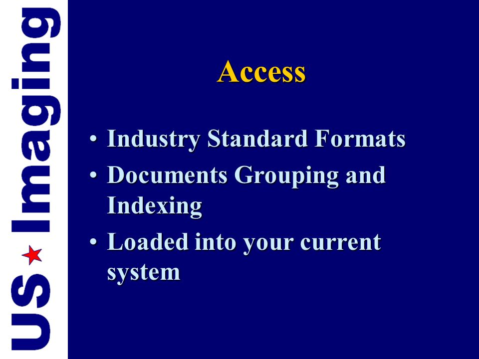Access Industry Standard Formats Documents Grouping and Indexing