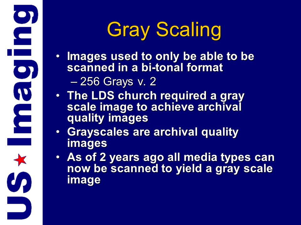 Gray ScalingImages used to only be able to be scanned in a bi-tonal format. 256 Grays v. 2.