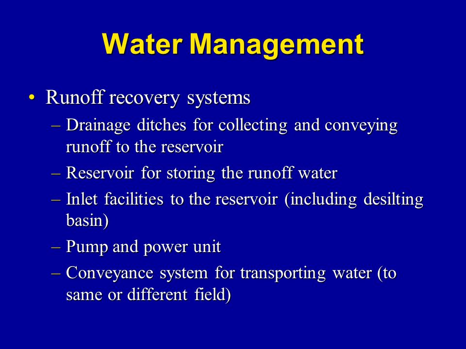 Water Management Runoff recovery systems