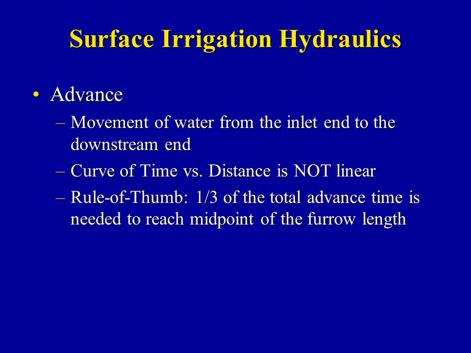 Surface Irrigation Hydraulics