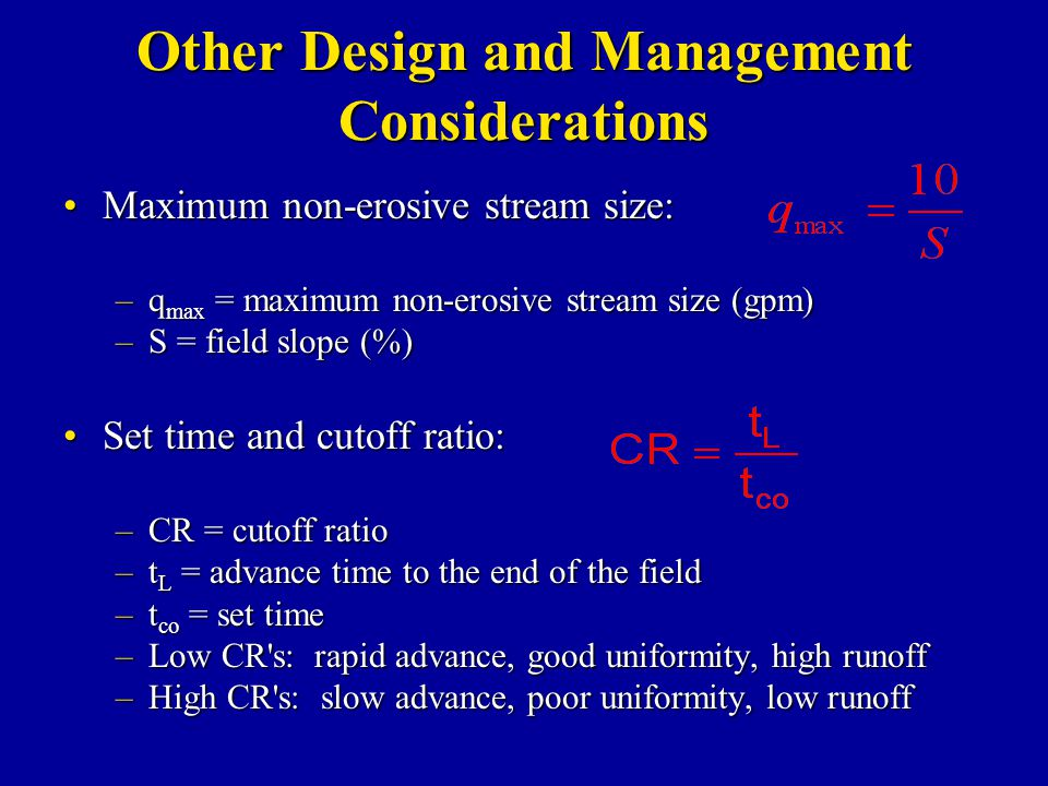 Other Design and Management Considerations