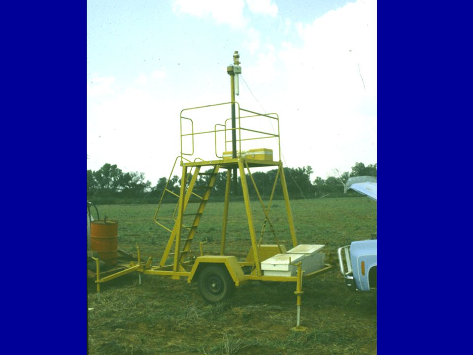 The rotating laser is placed at the field edge and set at the desired gradient and elevation.