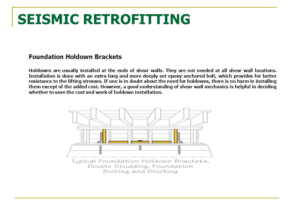 SEISMIC RETROFITTING Foundation Holdown Brackets