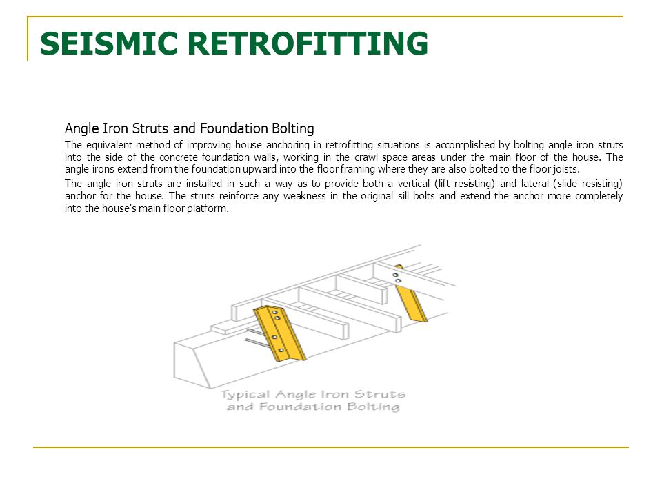 SEISMIC RETROFITTING Angle Iron Struts and Foundation Bolting