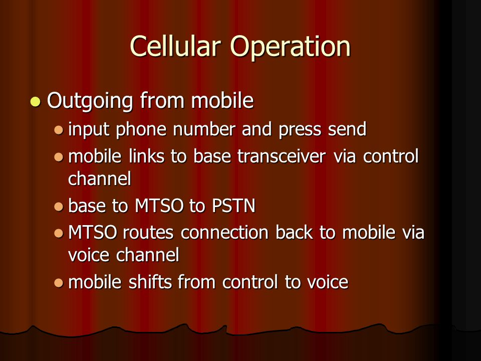 Cellular Operation Outgoing from mobile