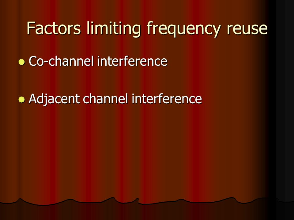Factors limiting frequency reuse