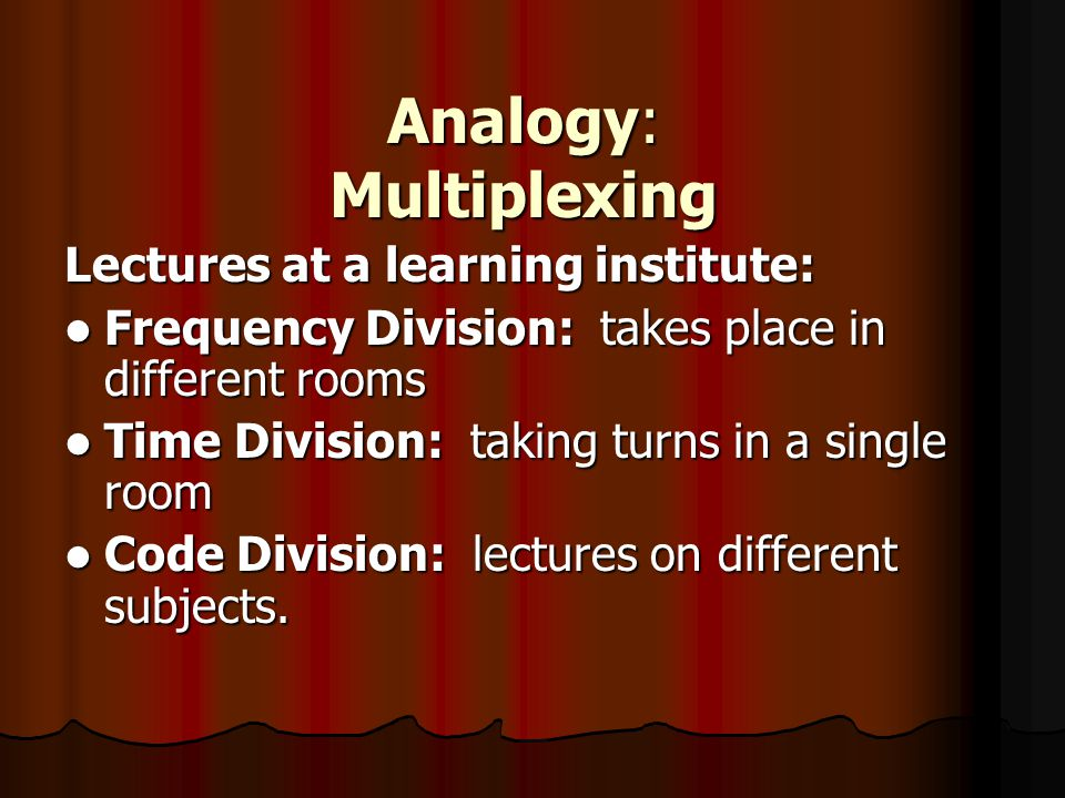 Analogy: Multiplexing
