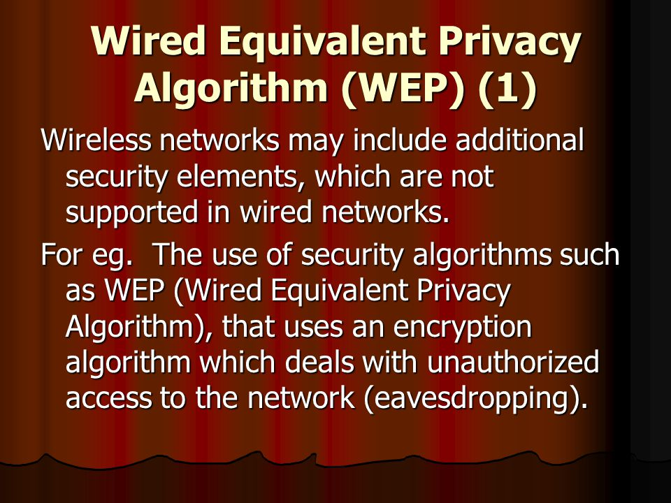 Wired Equivalent Privacy Algorithm (WEP) (1)