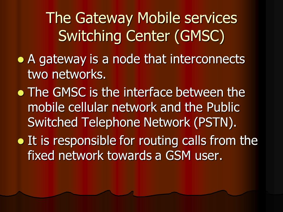 The Gateway Mobile services Switching Center (GMSC)