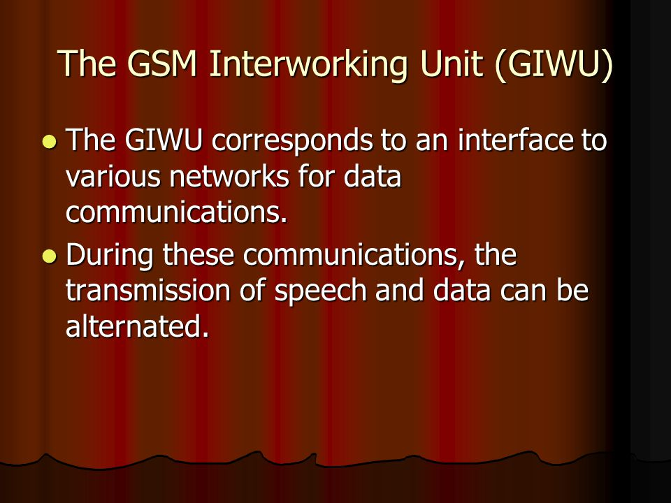 The GSM Interworking Unit (GIWU)