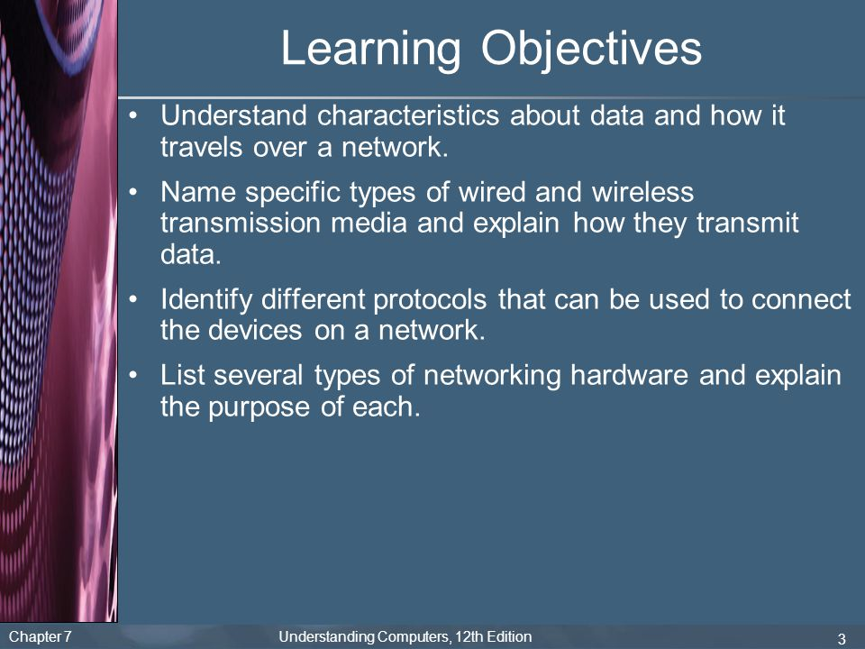Learning Objectives Understand characteristics about data and how it travels over a network.