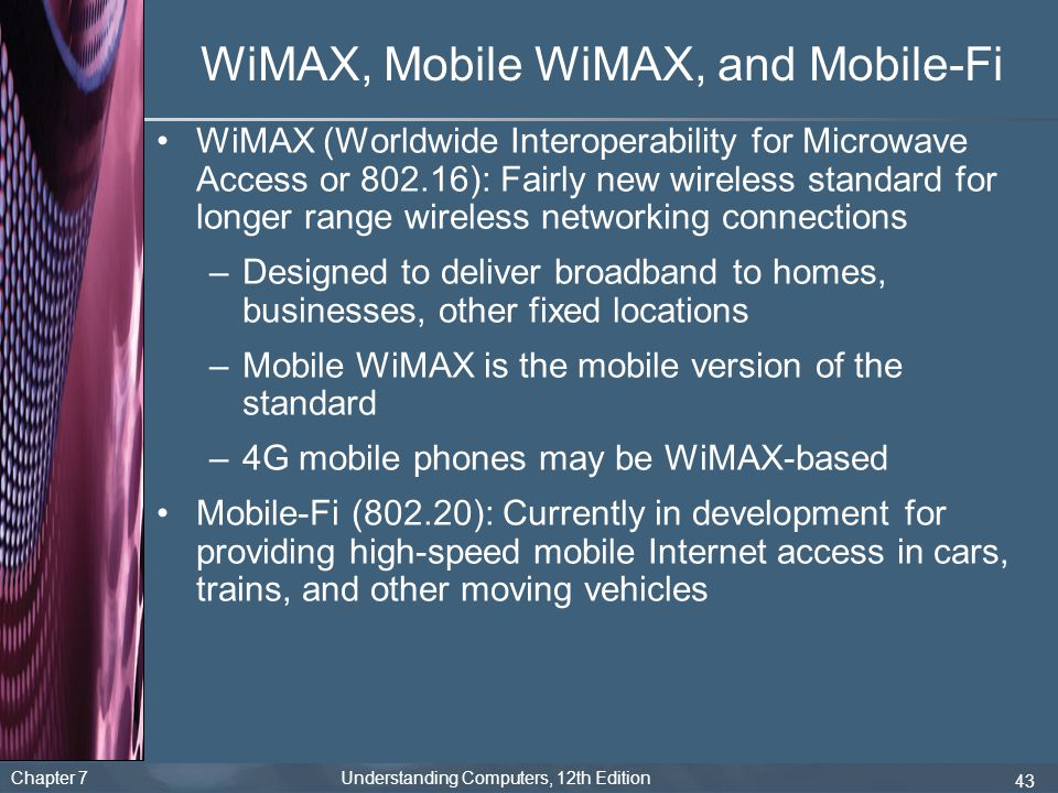 WiMAX, Mobile WiMAX, and Mobile-Fi