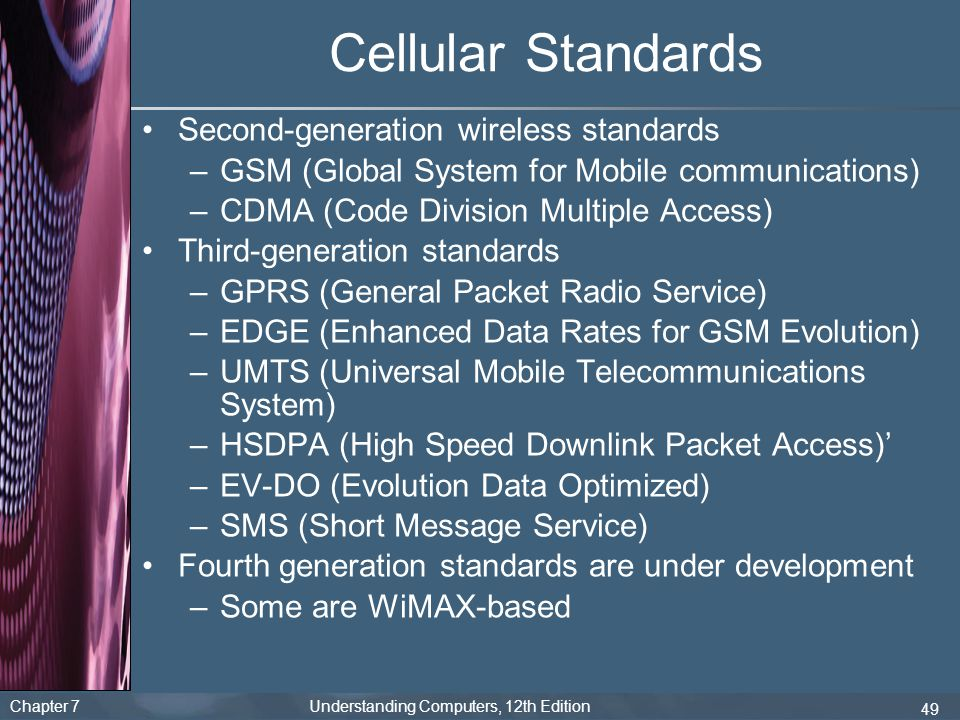 Cellular Standards Second-generation wireless standards
