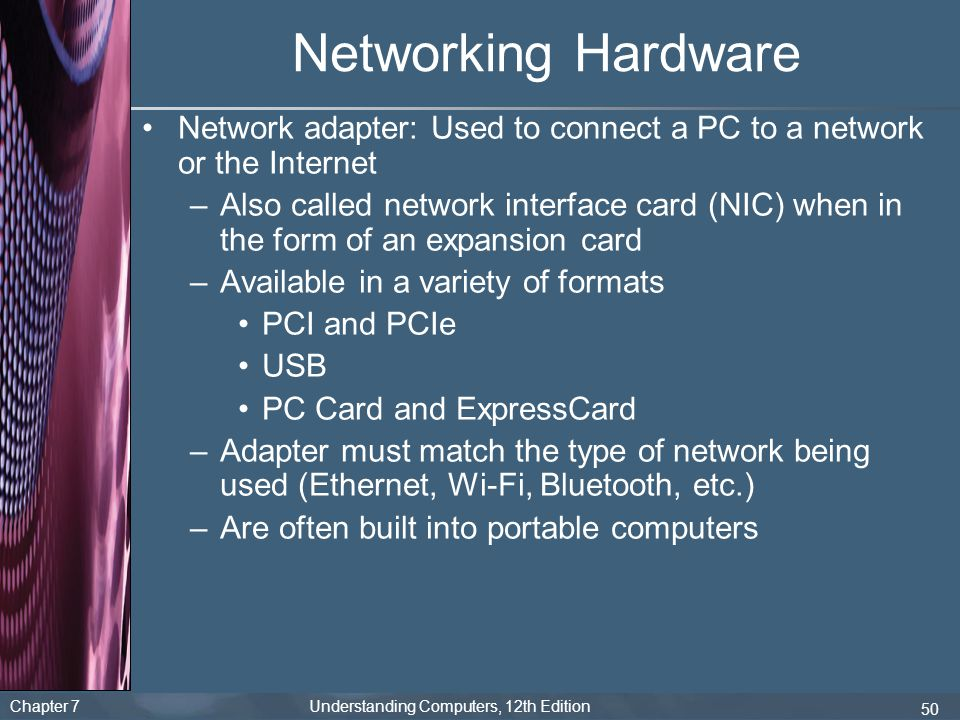 Networking Hardware Network adapter: Used to connect a PC to a network or the Internet.